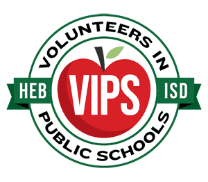 VIPS red apple logo - HEB ISD Volunteers in Public Schools